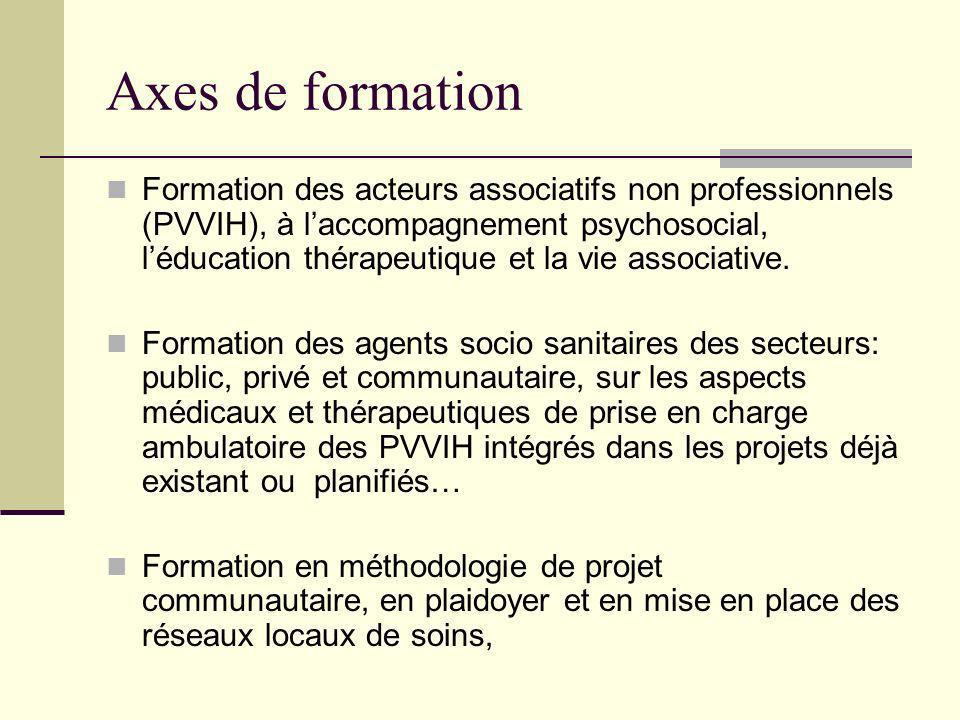 Axes de formation Formation des acteurs associatifs non professionnels (PVVIH), à laccompagnement psychosocial, léducation thérapeutique et la vie associative.