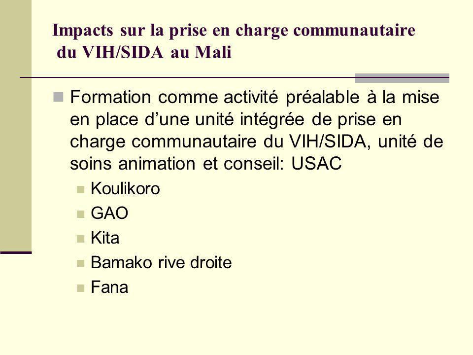 Impacts sur la prise en charge communautaire du VIH/SIDA au Mali Formation comme activité préalable à la mise en place dune unité intégrée de prise en charge communautaire du VIH/SIDA, unité de soins animation et conseil: USAC Koulikoro GAO Kita Bamako rive droite Fana