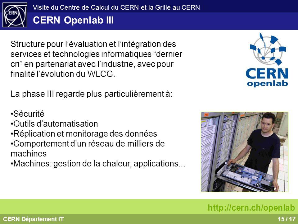 CERN Département IT15 / 17 Visite du Centre de Calcul du CERN et la Grille au CERN CERN Openlab III http://cern.ch/openlab Structure pour lévaluation