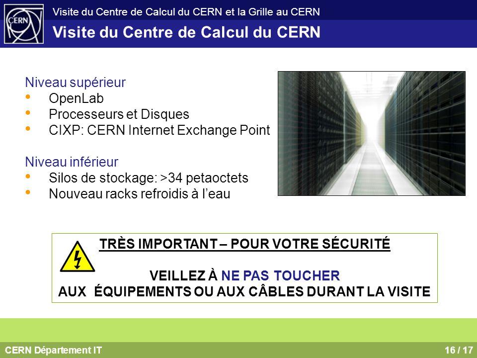 CERN Département IT16 / 17 Visite du Centre de Calcul du CERN et la Grille au CERN Visite du Centre de Calcul du CERN Niveau supérieur OpenLab Process
