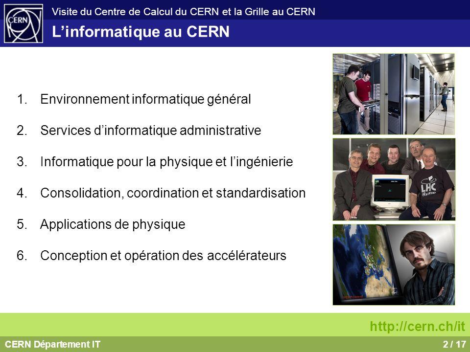 CERN Département IT2 / 17 Visite du Centre de Calcul du CERN et la Grille au CERN Linformatique au CERN 1.Environnement informatique général 2.Service