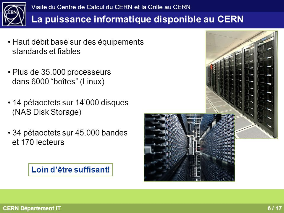 CERN Département IT6 / 17 Visite du Centre de Calcul du CERN et la Grille au CERN Haut débit basé sur des équipements standards et fiables Plus de 35.