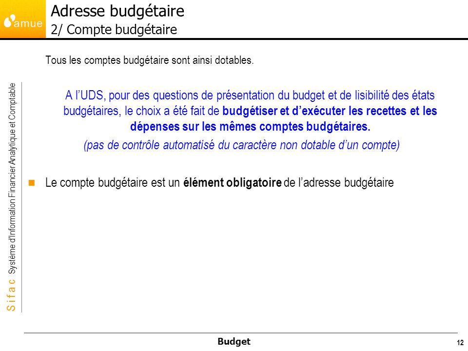 S i f a c Système dInformation Financier Analytique et Comptable Budget 12 Tous les comptes budgétaire sont ainsi dotables.