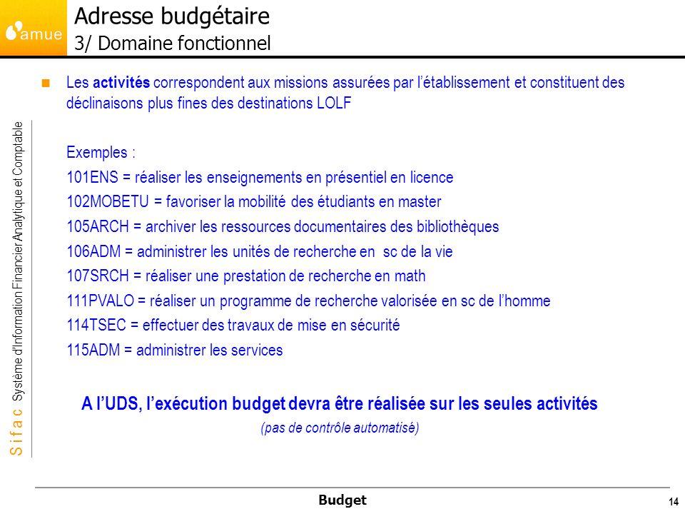 S i f a c Système dInformation Financier Analytique et Comptable Budget 15 Adresse budgétaire 3/ Domaine fonctionnel Les domaines fonctionnels correspondant à une même action LOLF réglementaire sont regroupés dans un groupe.