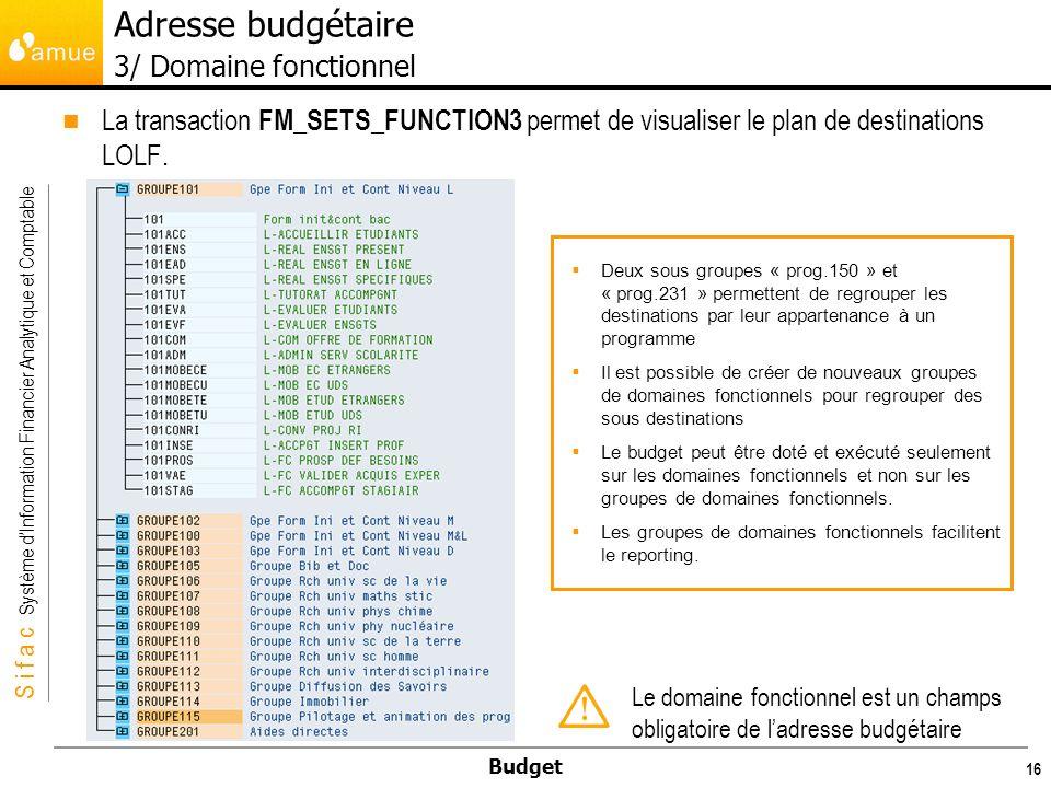 S i f a c Système dInformation Financier Analytique et Comptable Budget 16 La transaction FM_SETS_FUNCTION3 permet de visualiser le plan de destinations LOLF.