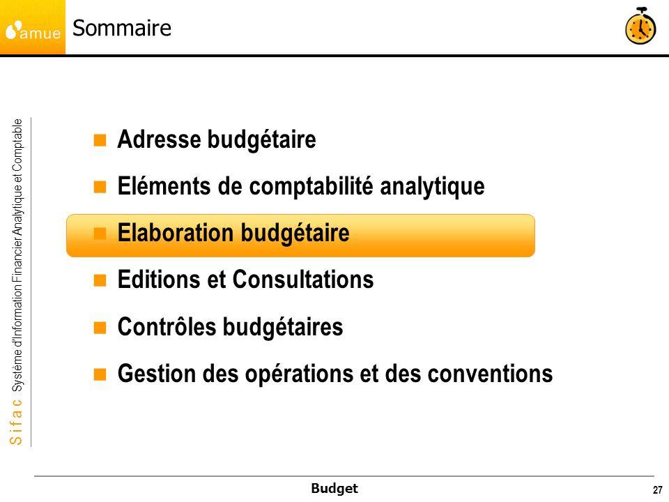 S i f a c Système dInformation Financier Analytique et Comptable Budget 28 Elaboration budgétaire Généralités L élaboration budgétaire consiste à saisir des prévisions budgétaires afin de faire voter le budget par le Conseil d Administration.