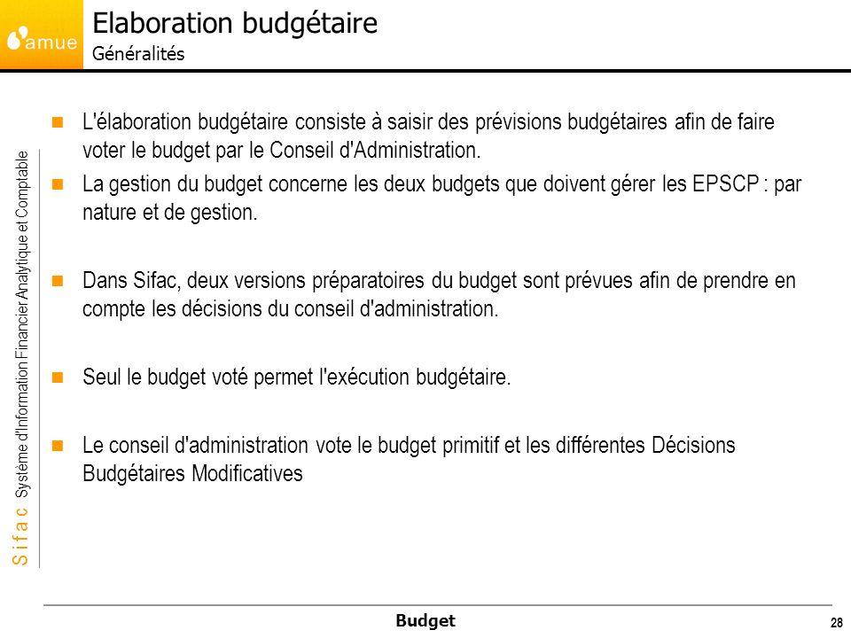 S i f a c Système dInformation Financier Analytique et Comptable Budget 29 La transaction « Génération de Budget » permet le passage dune Version de budget préparatoire vers un Budget Voté.