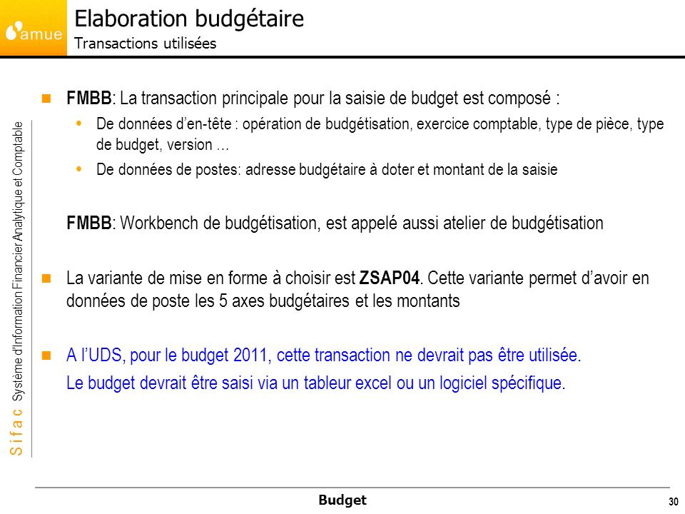 S i f a c Système dInformation Financier Analytique et Comptable Budget 30 FMBB : La transaction principale pour la saisie de budget est composé : De données den-tête : opération de budgétisation, exercice comptable, type de pièce, type de budget, version … De données de postes: adresse budgétaire à doter et montant de la saisie FMBB : Workbench de budgétisation, est appelé aussi atelier de budgétisation La variante de mise en forme à choisir est ZSAP04.