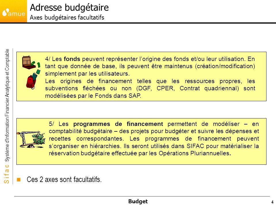 S i f a c Système dInformation Financier Analytique et Comptable Budget 4 5/ Les programmes de financement permettent de modéliser – en comptabilité budgétaire – des projets pour budgéter et suivre les dépenses et recettes correspondantes.