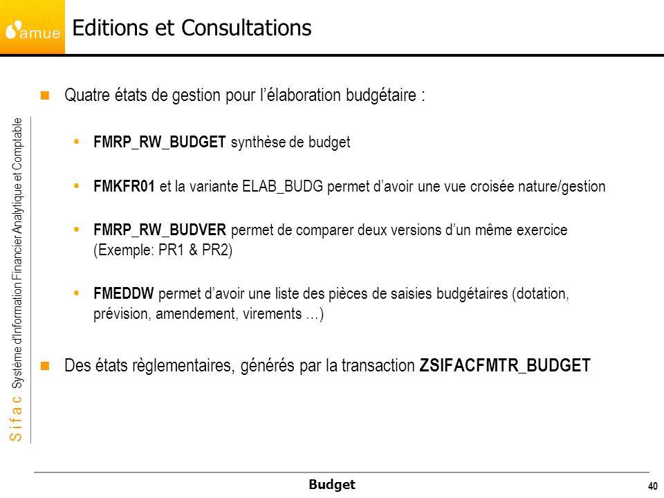 S i f a c Système dInformation Financier Analytique et Comptable Budget 40 Editions et Consultations Quatre états de gestion pour lélaboration budgétaire : FMRP_RW_BUDGET synthèse de budget FMKFR01 et la variante ELAB_BUDG permet davoir une vue croisée nature/gestion FMRP_RW_BUDVER permet de comparer deux versions dun même exercice (Exemple: PR1 & PR2) FMEDDW permet davoir une liste des pièces de saisies budgétaires (dotation, prévision, amendement, virements …) Des états règlementaires, générés par la transaction ZSIFACFMTR_BUDGET