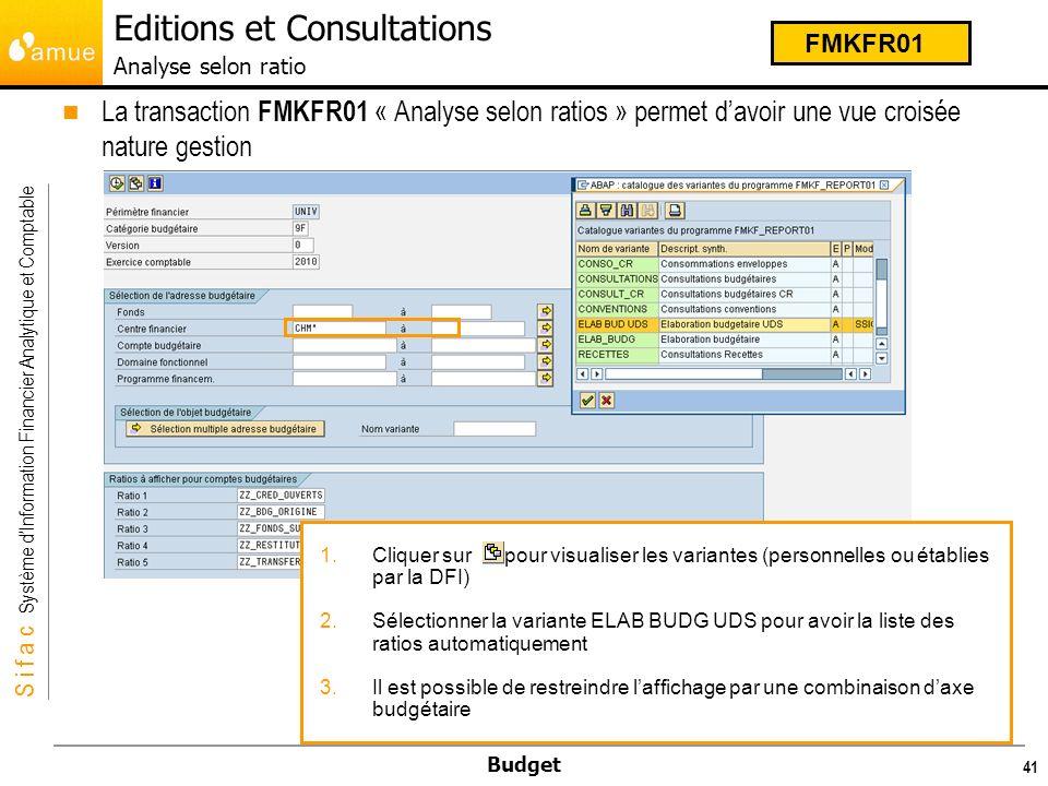S i f a c Système dInformation Financier Analytique et Comptable Budget Lédition comporte cinq colonnes aux maximum.