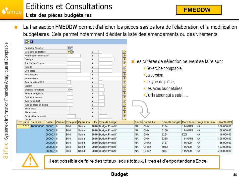 S i f a c Système dInformation Financier Analytique et Comptable Budget 45 La transaction ZSIFACFMTR_BUDGET permet de générer les différents états règlementaires : ZSIFACFMTR_BUDGET Editions et Consultations Etats règlementaires