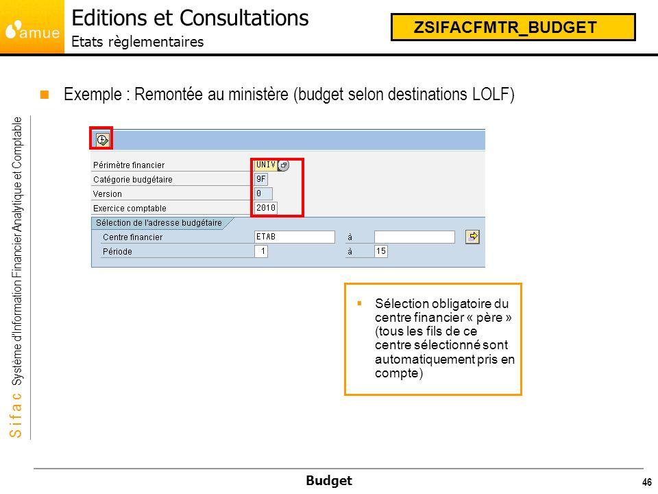 S i f a c Système dInformation Financier Analytique et Comptable Budget 47 ZSIFACFMTR_BUDGET Editions et Consultations Etats règlementaires LEtat suivant saffiche, directement éditable :