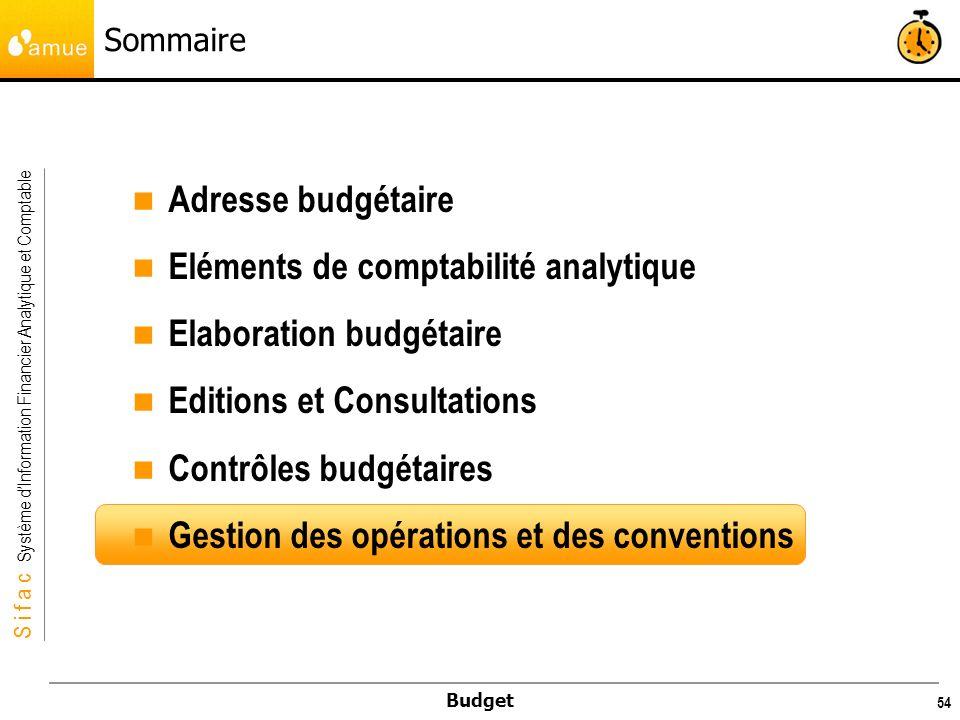 S i f a c Système dInformation Financier Analytique et Comptable Budget 55 Gestion des opérations et des conventions Généralités Il ne sera vu dans cette formation que la modélisation budgétaire (saisie de budget) des opérations et des conventions.