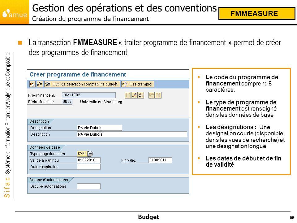 S i f a c Système dInformation Financier Analytique et Comptable Budget 56 La transaction FMMEASURE « traiter programme de financement » permet de créer des programmes de financement Le code du programme de financement comprend 8 caractères.