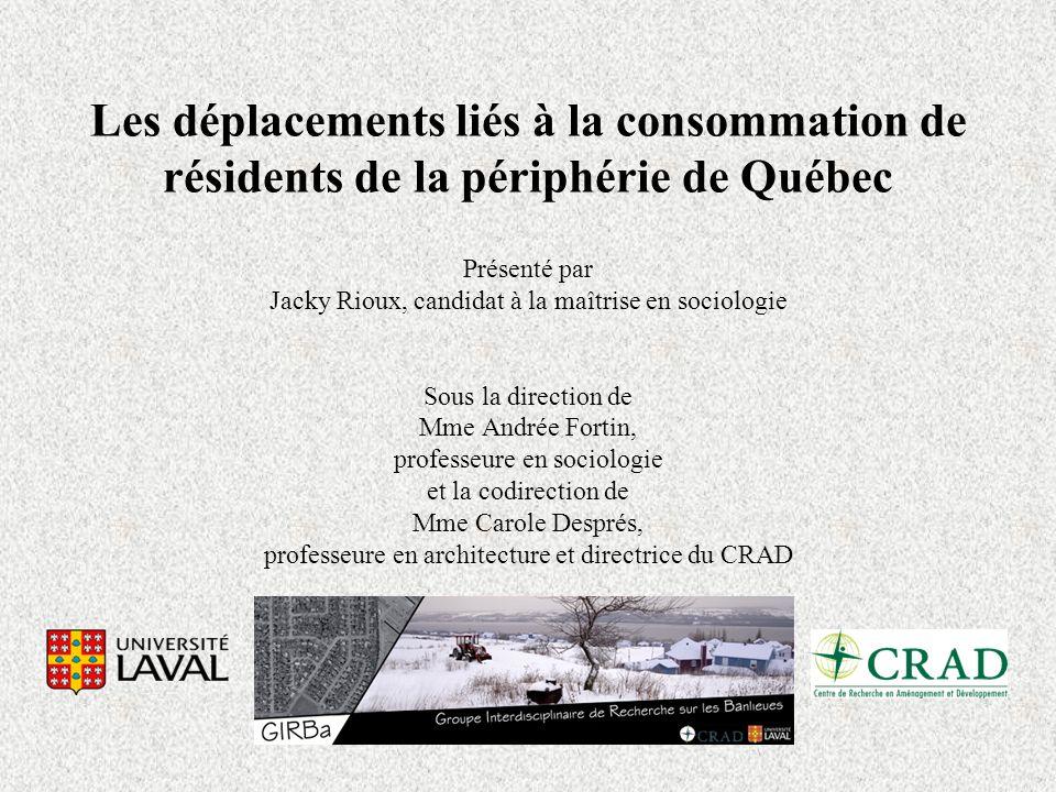 Les déplacements liés à la consommation de résidents de la périphérie de Québec Présenté par Jacky Rioux, candidat à la maîtrise en sociologie Sous la