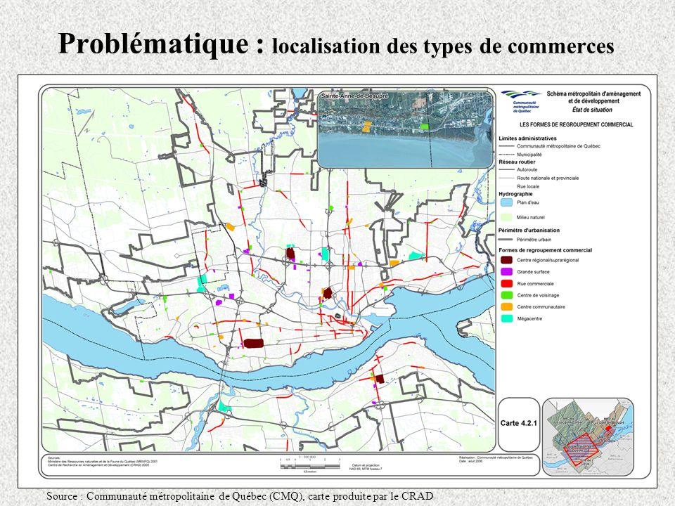 Problématique : localisation des types de commerces Source : Communauté métropolitaine de Québec (CMQ), carte produite par le CRAD