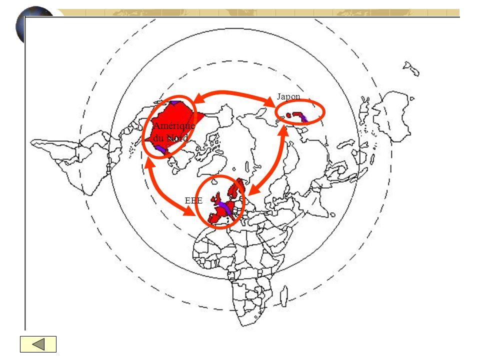 I- Au centre, des pôles majeurs qui organisent le monde A – Une forte concentration des activités Oligopole mondial : la TRIADE Mégalopole de la Triad