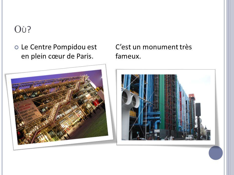 OÙ?OÙ? Le Centre Pompidou est en plein cœur de Paris. Cest un monument très fameux.