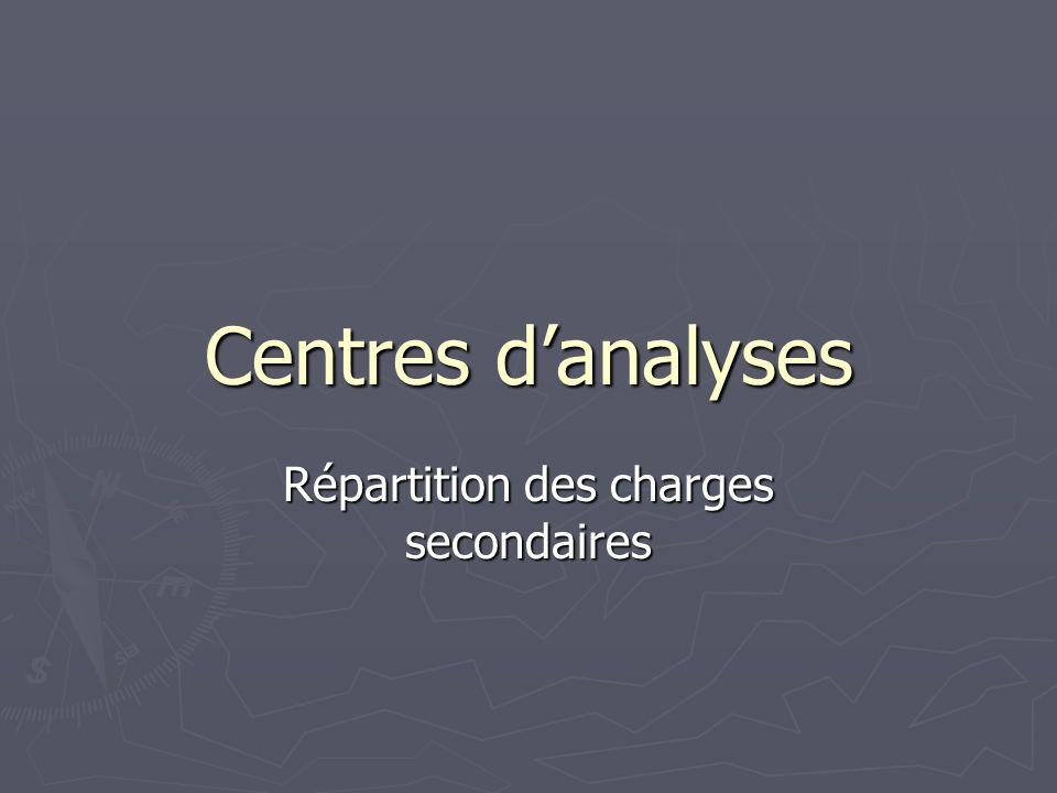 Centres danalyses Répartition des charges secondaires
