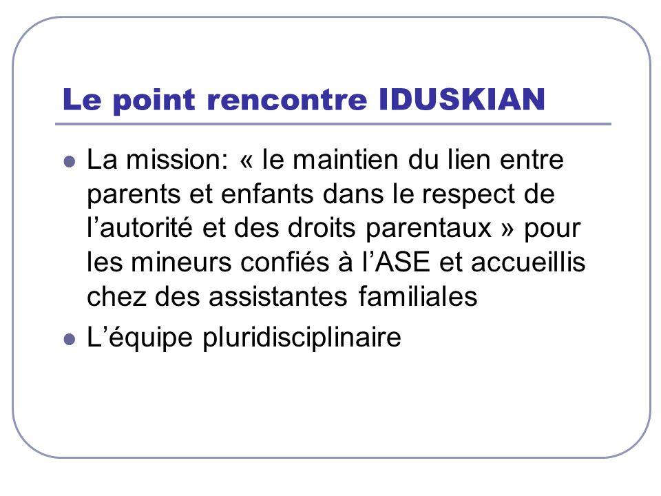 Le point rencontre IDUSKIAN La mission: « le maintien du lien entre parents et enfants dans le respect de lautorité et des droits parentaux » pour les