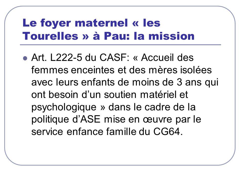 Le foyer maternel « les Tourelles » à Pau: la mission Art. L222-5 du CASF: « Accueil des femmes enceintes et des mères isolées avec leurs enfants de m