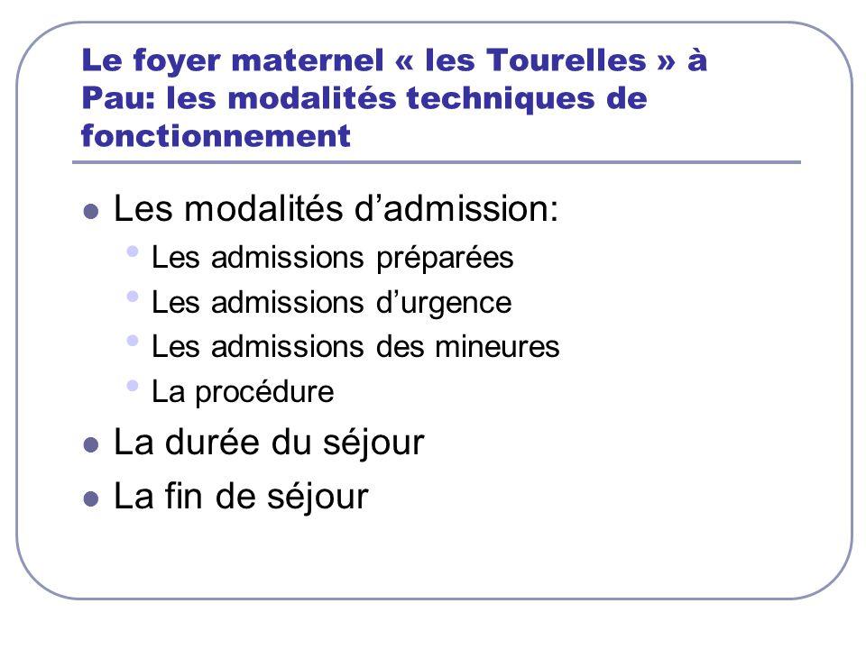 Le foyer maternel « les Tourelles » à Pau: les modalités techniques de fonctionnement Les modalités dadmission: Les admissions préparées Les admission