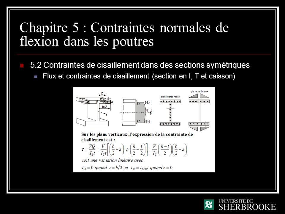 Chapitre 5 : Contraintes normales de flexion dans les poutres 5.2 Contraintes de cisaillement dans des sections symétriques Flux et contraintes de cisaillement (section en I, T et caisson)