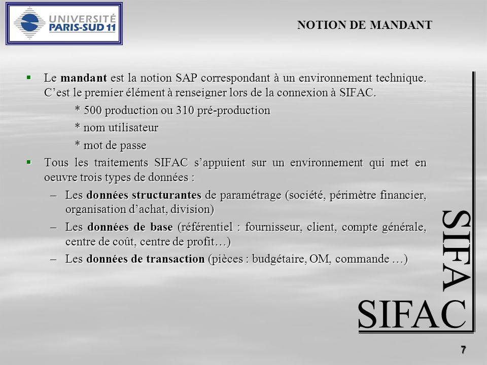 7 SIFAC SIFA Le mandant est la notion SAP correspondant à un environnement technique. Cest le premier élément à renseigner lors de la connexion à SIFA