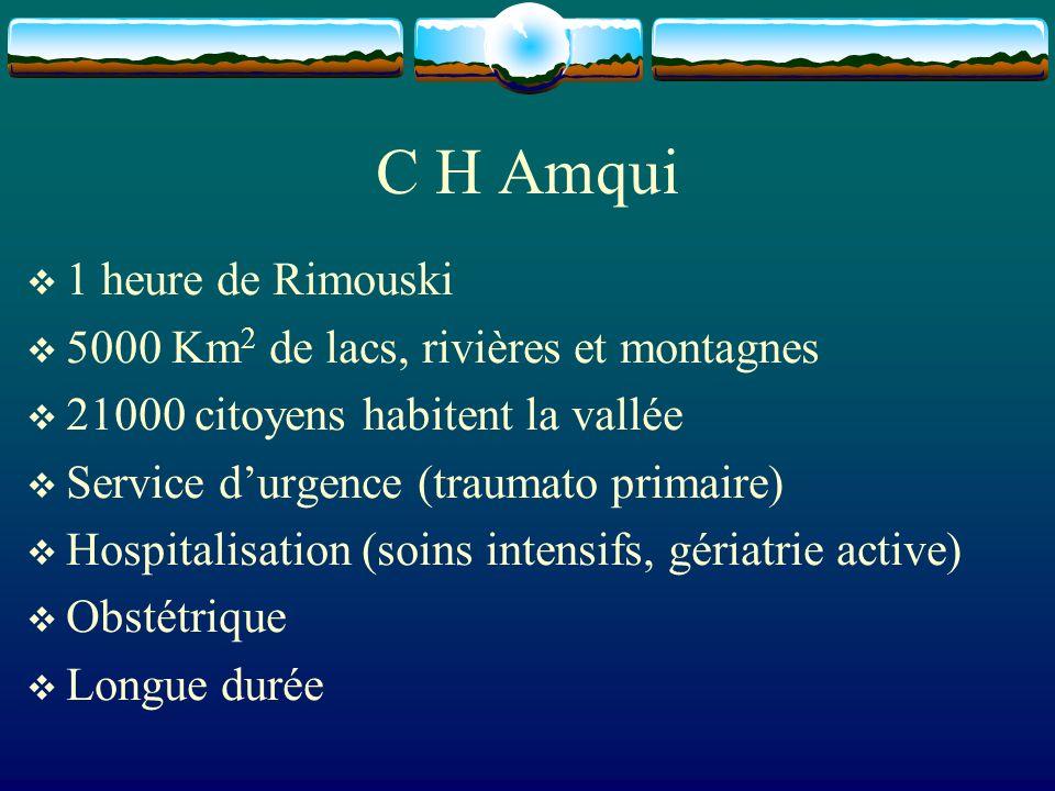 C H Amqui 1 heure de Rimouski 5000 Km 2 de lacs, rivières et montagnes 21000 citoyens habitent la vallée Service durgence (traumato primaire) Hospital