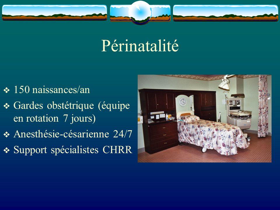 Périnatalité 150 naissances/an Gardes obstétrique (équipe en rotation 7 jours) Anesthésie-césarienne 24/7 Support spécialistes CHRR