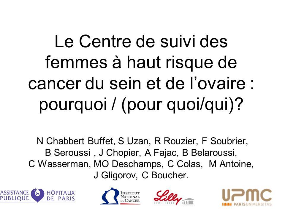Le Centre de suivi des femmes à haut risque de cancer du sein et de lovaire : pourquoi / (pour quoi/qui)? N Chabbert Buffet, S Uzan, R Rouzier, F Soub