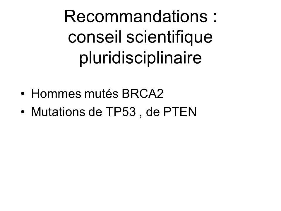 Recommandations : conseil scientifique pluridisciplinaire Hommes mutés BRCA2 Mutations de TP53, de PTEN