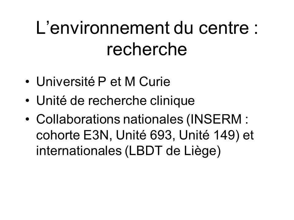 Lenvironnement du centre : recherche Université P et M Curie Unité de recherche clinique Collaborations nationales (INSERM : cohorte E3N, Unité 693, U
