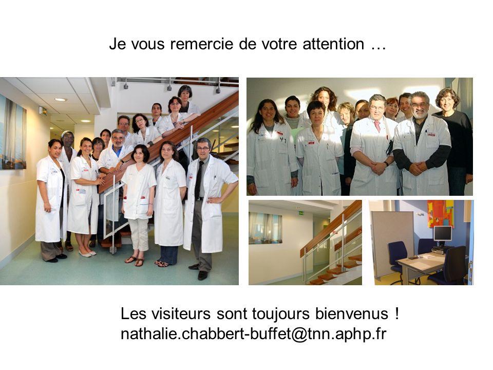 Je vous remercie de votre attention … Les visiteurs sont toujours bienvenus ! nathalie.chabbert-buffet@tnn.aphp.fr