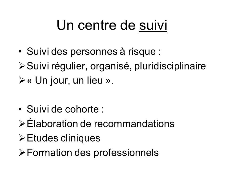 Un centre de suivi Suivi des personnes à haut risque : Suivi régulier, organisé, pluridisciplinaire « Un jour, un lieu ».