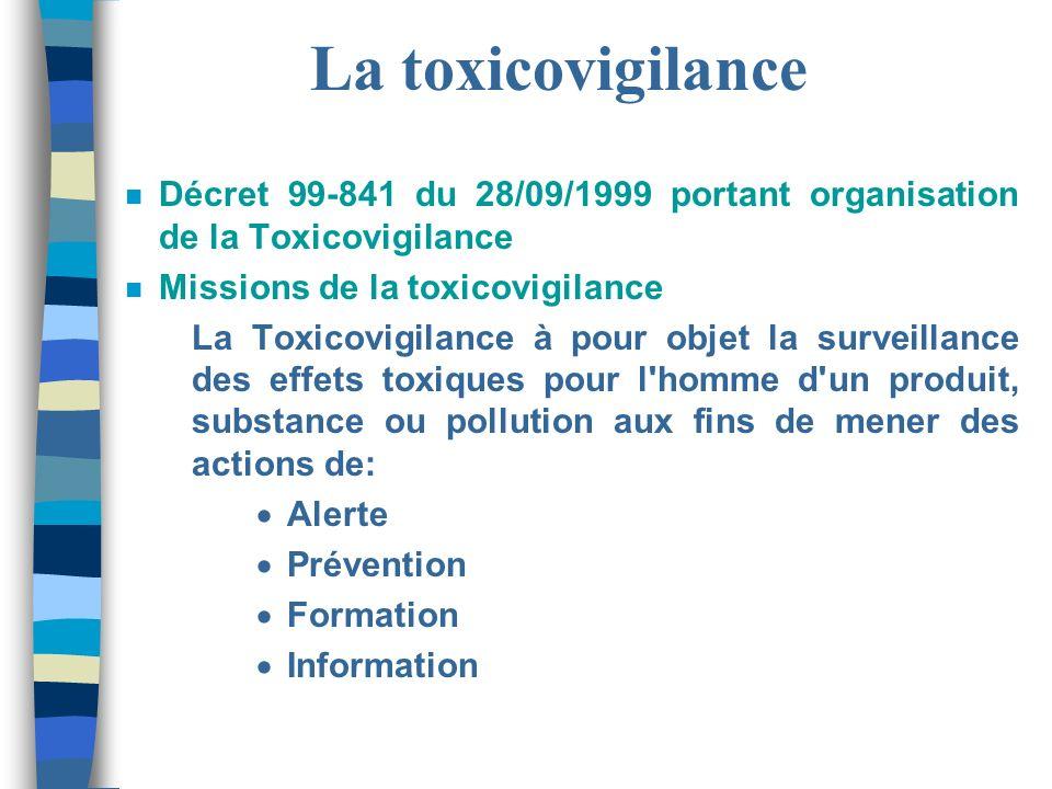 La toxicovigilance n Décret 99-841 du 28/09/1999 portant organisation de la Toxicovigilance n Missions de la toxicovigilance La Toxicovigilance à pour