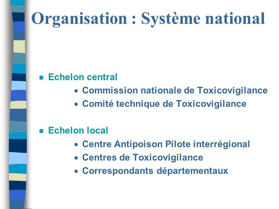 Organisation : Système national n Echelon central Commission nationale de Toxicovigilance Comité technique de Toxicovigilance n Echelon local Centre A