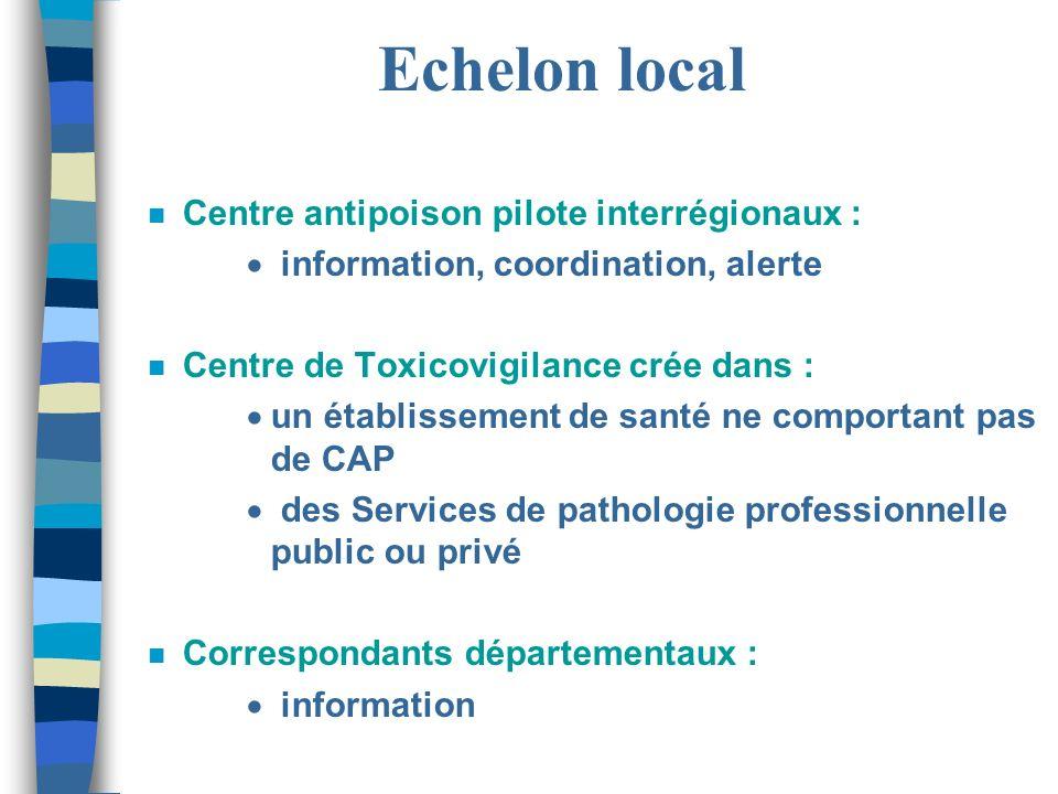 Echelon local n Centre antipoison pilote interrégionaux : information, coordination, alerte n Centre de Toxicovigilance crée dans : un établissement d