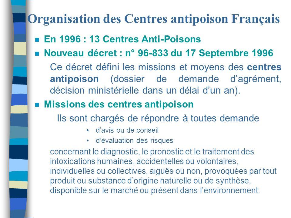 Organisation des Centres antipoison Français n Arrêté du 1° Juin 1998 relatif à la liste des centres hospitaliers régionaux comportant un centre antipoison n 10 Centres Hospitaliers régionaux sont autorisés à faire fonctionner un centre antipoison, certains pour un an seulement n Des zones géographiques dintervention sont définies en annexe de larrêté