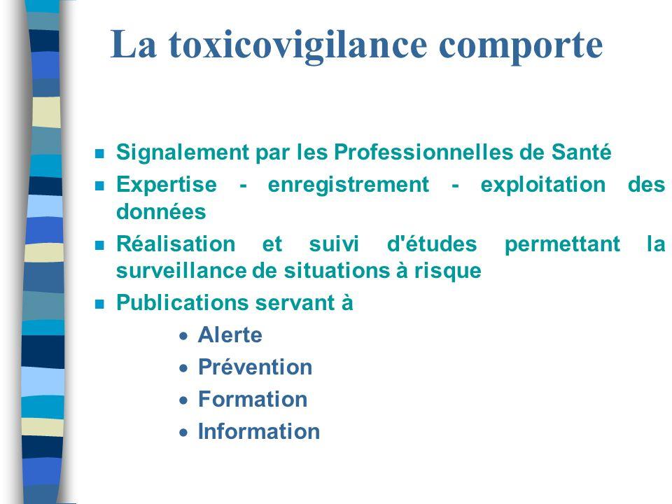 La toxicovigilance comporte n Signalement par les Professionnelles de Santé n Expertise - enregistrement - exploitation des données n Réalisation et s