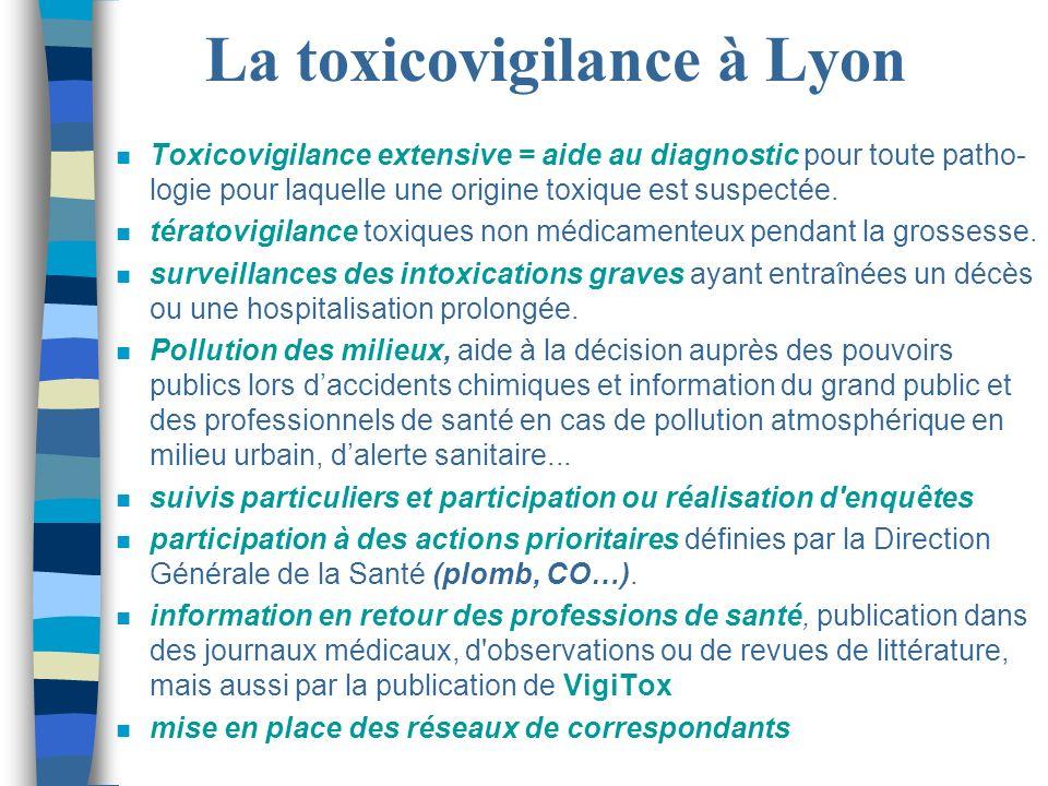 La toxicovigilance à Lyon n Toxicovigilance extensive = aide au diagnostic pour toute patho- logie pour laquelle une origine toxique est suspectée. n