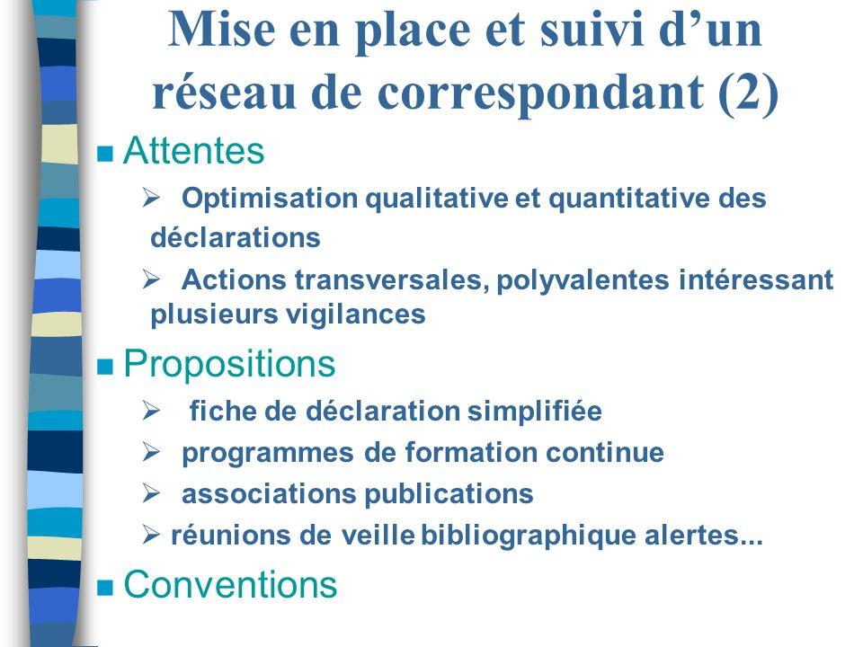Mise en place et suivi dun réseau de correspondant (2) n Attentes Optimisation qualitative et quantitative des déclarations Actions transversales, pol