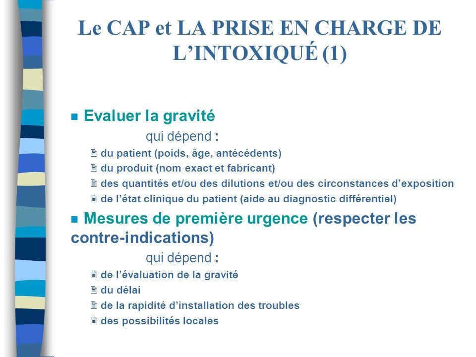 n Evaluer la gravité qui dépend : 2 du patient (poids, âge, antécédents) 2 du produit (nom exact et fabricant) 2 des quantités et/ou des dilutions et/