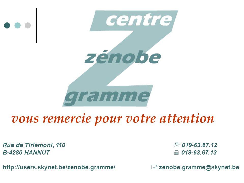 Rue de Tirlemont, 110 019-63.67.12 B-4280 HANNUT 019-63.67.13 http://users.skynet.be/zenobe.gramme/ zenobe.gramme@skynet.be vous remercie pour votre attention