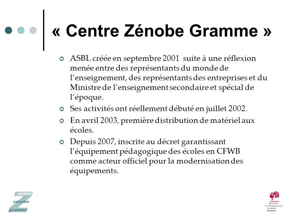 « Centre Zénobe Gramme » ASBL créée en septembre 2001 suite à une réflexion menée entre des représentants du monde de lenseignement, des représentants des entreprises et du Ministre de lenseignement secondaire et spécial de lépoque.