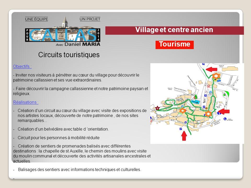 Circuits touristiques Objectifs : - Inviter nos visiteurs à pénétrer au cœur du village pour découvrir le patrimoine callassien et ses vue extraordina