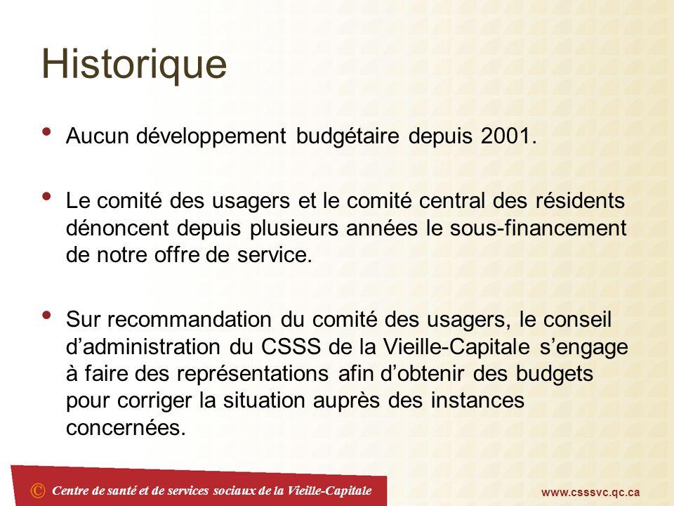 Centre de santé et de services sociaux de la Vieille-Capitale www.csssvc.qc.ca Historique Aucun développement budgétaire depuis 2001. Le comité des us