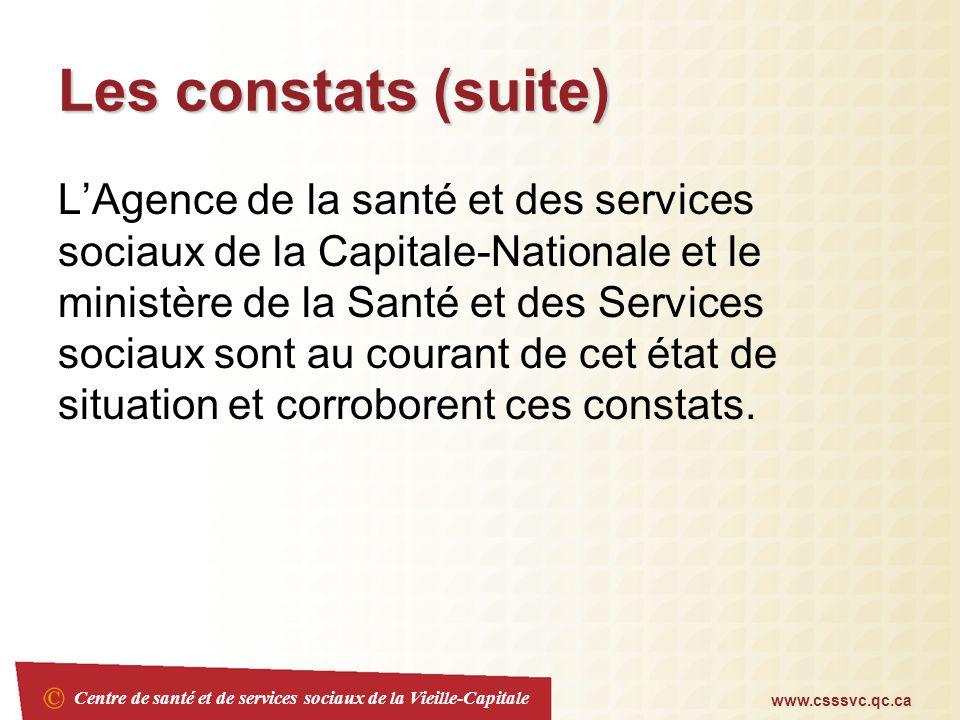 Centre de santé et de services sociaux de la Vieille-Capitale www.csssvc.qc.ca Les constats (suite) LAgence de la santé et des services sociaux de la