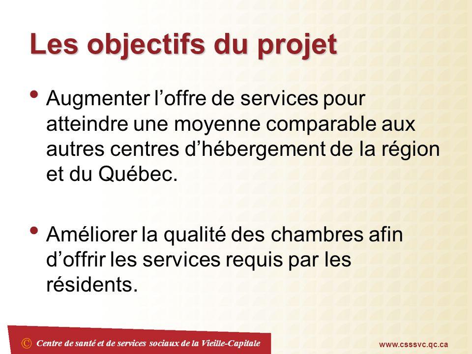 Centre de santé et de services sociaux de la Vieille-Capitale www.csssvc.qc.ca Les objectifs du projet Augmenter loffre de services pour atteindre une